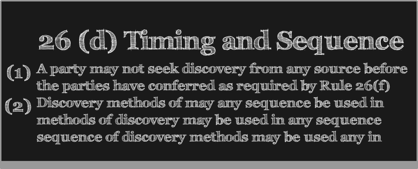 (1) Timing. A party may not seek discovery from any source before the parties have conferred as required by Rule 26(f), except in a proceeding exempted from initial disclosure under Rule 26(a)(1)(B), or when authorized by these rules, by stipulation, or by court order.  (2) Sequence. Unless, on motion, the court orders otherwise for the parties' and witnesses' convenience and in the interests of justice:  (A) methods of discovery may be used in any sequence; and  (B) discovery by one party does not require any other party to delay its discovery.