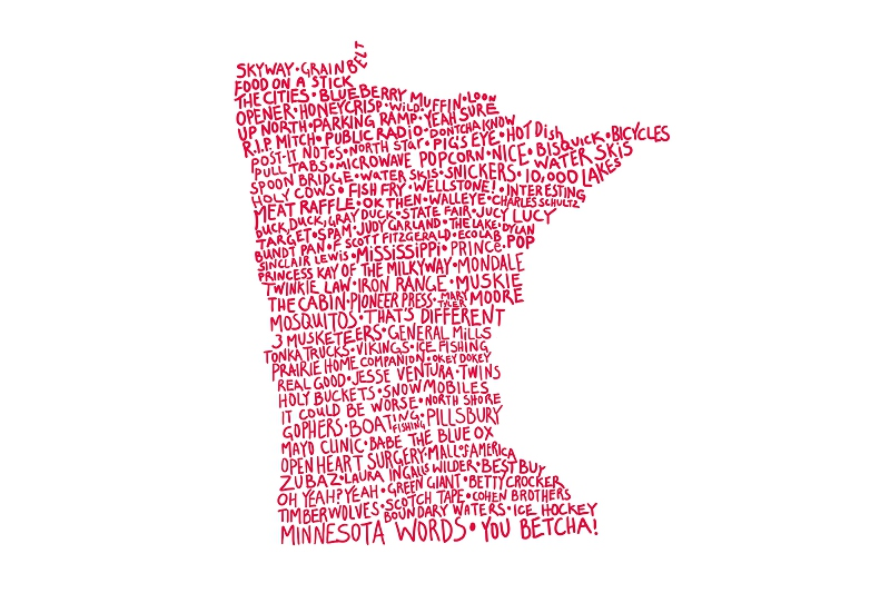 Hand-lettered list of Minnesota words. In the shape of the sate